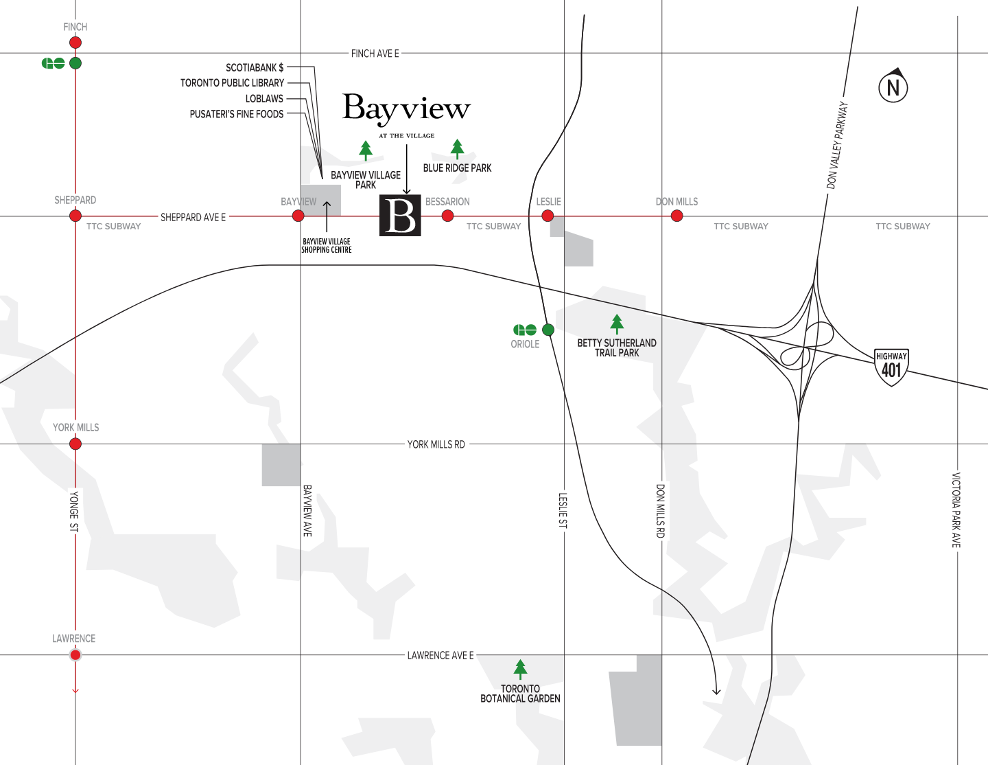 Map of location of Bayview at the Village